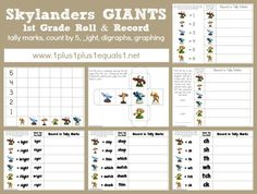 Skylanders Giants 1st Grade Printables ~ Tally Marks, digraphs, addition, syllables