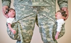 With grand-twins and a son-in-law (their daddy) in the Army National Guard, I love this picture.