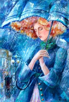Yana Fefelova, blue girl: coat, umbrella, red hair