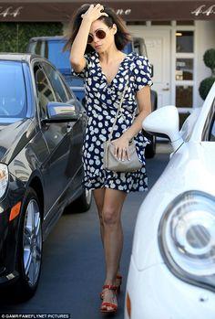 Flower power:Jenna Dewan Tatum was seen leaving a skin care center in Beverly Hills on Wednesday wearing a patterned frock