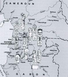 Carte tirée du livre Fang, Perrois L., 2006 – Coll. Visions d'Afrique - Ed. 5 Continents   p. 33.