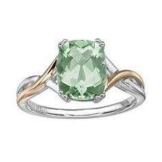 Green Quartz Sterling Silver Crisscross Ring