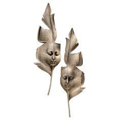 Design Toscano 2 Piece Aurora and Hespera Sculptural Greenmen Masks Wall Décor Set