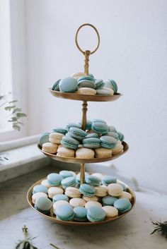 Blue & White Macaroons by Macaroom - Pastel Blue Outdoor Wedding in Germany Planned & Styled by A Very Beloved Wedding | Photography by Thomas Steibl