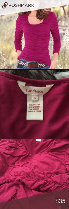 "New Sundance Catalog Ruched Rosalind Shirt Small This is a beautiful Sundance Rosalind London sleeve ruched top. Made of 91% cotton 9% spandex. Size small. Bust 32"" length 30"". Longer in the back than front. Double layered in the front. No flaws. sundance Tops Blouses"