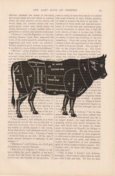 dictionary art vintage russian BEEF butcher diagram COW livestock print - vintage art book page print