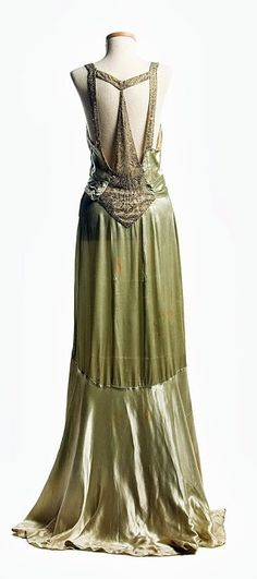 Light Green Satin Dress - back - c. 1932 - Worn by Eleanor Middleton Rutledge Hanson (1894-1966) for her second court visit at Buckingham Palace in 1932 - Charleston Museum - @~ Mlle