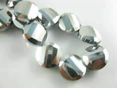 Round Flat Faceted Crystal Glass Loose Spacer Beads Jewelry Making Faceted Glass, Faceted Crystal, Glass Crystal, Silver Beads, Silver Metal, Czech Glass, Crystal Rhinestone, Beaded Jewelry, Jewelry Making
