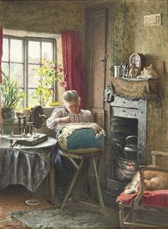 Charles Spencelayh (British, 1865-1958) - The lace maker
