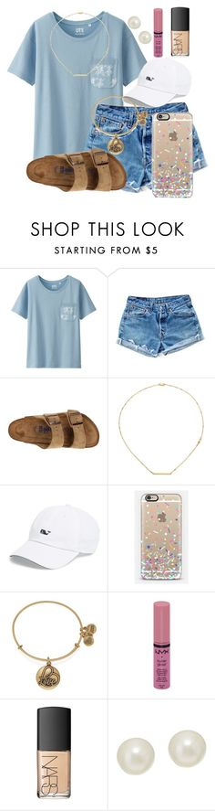 """Santa Cruz tomorrow!!! ☀️"" by kari-luvs-u-2 ❤ liked on Polyvore featuring Uniqlo, Levi's, Birkenstock, Jennifer Zeuner, Vineyard Vines, Casetify, Alex and Ani, NYX, NARS Cosmetics and Honora"