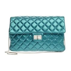 Pre-Owned Convertible Reissue 2.55 Clutch Quilted Lambskin ($1,466) ❤ liked on Polyvore featuring bags, handbags, blue, quilted purses, metallic handbags, flap handbags, quilted handbags and chain strap purse