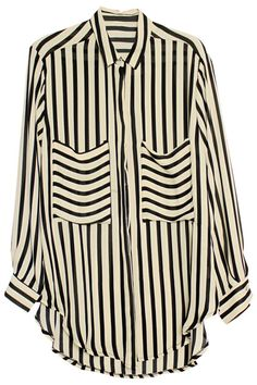 """Loose """"Stripes"""" Black-cream Shirt. Description Black-cream shirt. Featuring unique collar, long sleeves, buttoned cuffs and front, twin pockets on chest, black stripes print throughout, unique hem, loose styling. Fabric Chiffon. Washing Cool hand wash with similar colours, do not tumble dry. #Romwe"""