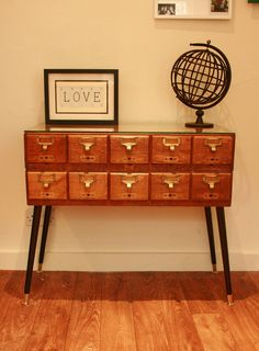 Vintage Oak Libary Drawers.