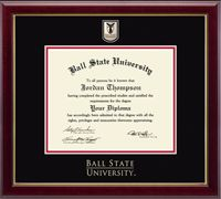 For my bachelor's degree - Ball State University Diploma Frame - Features a custom-minted medallion of your school seal enhanced with hand-painted color enamel accents. The medallion is placed in a special bevel cut opening within double black and red museum-quality matting and the school name is gold embossed below. It is framed in our Gallery moulding crafted of solid hardwood with a high-gloss cherry lacquer finish and gold inner lip. #DreamOffice @Church Hill Classics