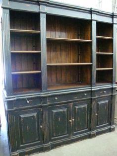 Black Distressed Mahogany Estate Bookcase Entertainment