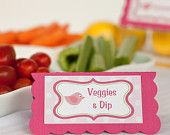Food Tents - Menu Cards - Place Cards - Food Signs - Little Birdie Theme Birthday Party Decorations in Hot Pink  Green (6)