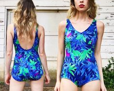 Vintage Pin Up Girl Blue Green Tropical by vernasvintageATL Vintage One Piece Swimsuits, Girls One Piece Swimsuit, Tropical Design, Vintage Pins, Pin Up Girls, Blue Green, Trending Outfits, Swimwear, How To Wear