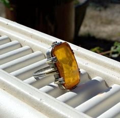 Antique Art Deco Amber Ring Domed Faceted 14K by Oldtreasuretrunk, $92.00