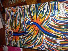 Oil pastel Dragonfly art