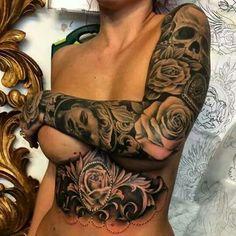 Black and Grey Sleeve Tattoo