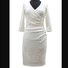 Joseph Ribkoff White Sparkle Dress This is a comfortable and stunning dress with flattering rouge and a slight sparkle to make any night magical. Perfect for a small wedding dress! Fitted and knee length. Very classy and a head turner! It is lined with a silk blend elastane fabric. Very stretchy and smooth. ☮PRICE FIRM UNLESS CUSTOM BUNDLED Joseph Ribkoff Dresses Long Sleeve