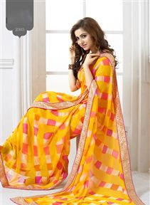 #Beautiful Yellow Color #Casual #Printed Saree