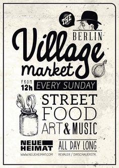 neue heimat berlin, village market, sundays, 12 to 10 pm.