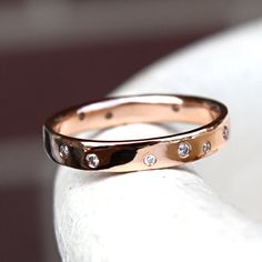 Unisex Gold Band- Solid 14K Gold- Customizable with Diamonds