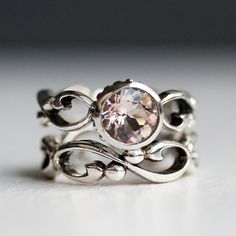 Pink morganite engagement ring set - bezel solitaire - recycled sterling silver - filigree wedding band- Wrought ring