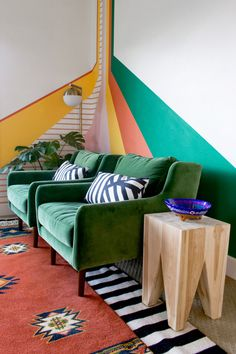Tana extends Article's commitment to traceable and certifiably sourced teak. Photo by Rachael Jackson of Banyan Bridges. Colorful Apartment, Colourful Home, Colorful Interiors, Colorful Houses, Modern Interiors, Colorful Decor, Living Room Decor, Bedroom Decor, 70s Bedroom