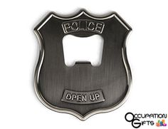"""There's no better way to show you're legal than with this police badge bottle opener. Crafted of stainless steel, it is decorated with the words, """"Police, Open Up,"""" making it a fun g . Police Officer Gifts, Police Gifts, Police Badges, Police Academy Graduation Gifts, Police Badge Wallet, Police Police, State Police, Gifts For Cops, Dad Gifts"""