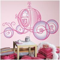 Large Disney Princess Wall Decals - Cinderella Giant Carriage with Glitter Wall Mural -Removable Wall Decals for Decorating Nursery, Kids Room, or Playroom