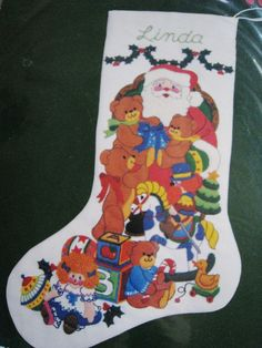 """Crewel Stitchery Embroidery Christmas STOCKING KIT,A VISIT WITH SANTA,Rigg,18"""" #Dimensions"""