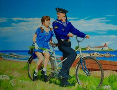 A deux on the bike , 2008 Oleg Maslov Canvas/oil140x180 cm