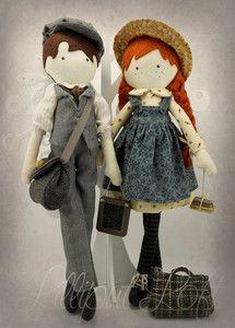 Lilliput Loft Cloth Poppet Dolls  -  Anne and Gilbert