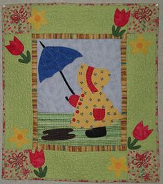 Sunbonnet Sue in April showers.  A birthday present from my friend, Sharon.