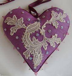 Lace pinned heart