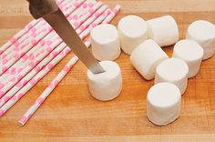 Marshmallow pops on paper straws