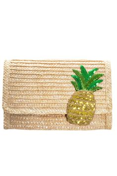 Fruit Of The Loom! 11 Adorable Pineapple Pieces To Make Yours #refinery29 http://www.refinery29.com/2013/08/50959/pineapple-print#slide8 Felix Rey Pineapple Punch Straw Clutch, $75, available at Aha Life.
