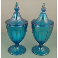 Image Detail for - MEB : Pair Vintage Blue Carnival Glass Apothecary Jars