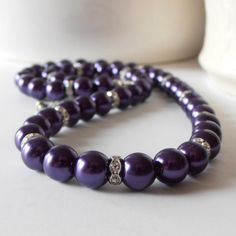 Wedding Jewelry, Dark Purple Pearl Necklace, Bridesmaids Necklace, Lapis Bridal Sets, Beaded Pearl Strand, Silver