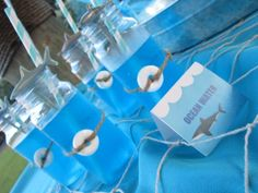"""Ocean water, cute for drinks! love the lifesaver candy on outside!  Photo 1 of 17: Sharks / Birthday """"Brant's 7th Birthday Party Swimming with the Sharks""""   Catch My Party"""