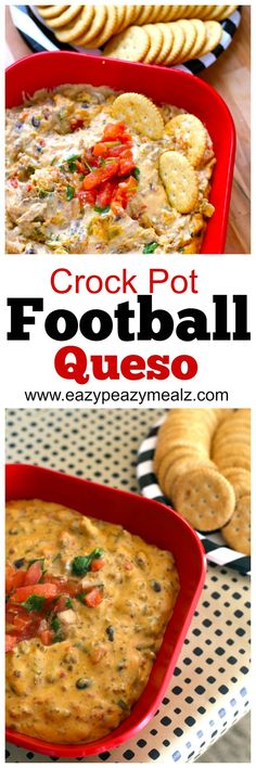 Such an easy queso dip, just throw ingredients in the crock pot and let it cook! Perfect for game day! #preparetoparty #ad - Eazy Peazy Mealz