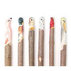 アニマル ペン  Wooden pen cases with carved birds.