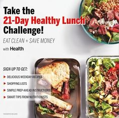 Eat clean and save money with our 21-DAY HEALTHY LUNCH CHALLENGE. Be a lunch genius! Make a few basics at the start of the week, then throw together amazing midday meals. | Health.com