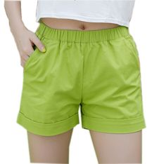 New 2016 summer candy color women shorts casual style ladies shorts hot sale plus size cotton female shorts femininos