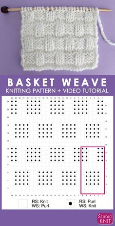 Basket Weave Knit Stitch Pattern Chart with Video Tutorial by Studio Knit StudioKnit KnitStitchPattern KnittingChart knittingpattern # Knitting Charts, Loom Knitting, Knitting Stitches, Knitting Patterns Free, Knit Patterns, Baby Knitting, Stitch Patterns, Free Knitting, Knitting Tutorials