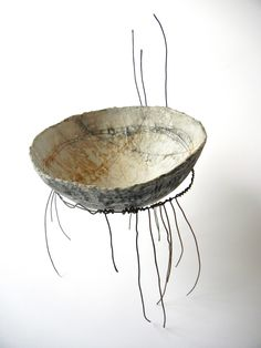 """The Nest"" - polymer clay vessel and metal structure by Sonya Girodon."