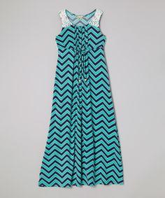 Speechless Navy & Turquoise Zigzag Crocheted Trim Maxi Dress by Speechless #zulily #zulilyfinds