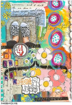KICKS art journal page by Robes-Pierre...  see a step by step video on her blog...  http://www.robenmarie.com/blog/2012/6/6/new-art-journaling-video.html